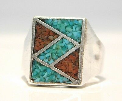 Southwestern Sterling Silver Mosaic Mens Ring Crushed Coral Turquoise Inlay 11.5