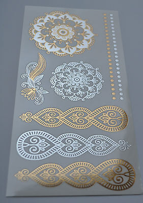 Metallic Gold Silver Flash Tattoos Holographic Henna Mehndi Indian Boho Festival