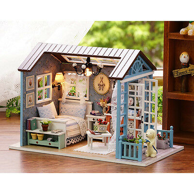 DIY Wooden Dollhouse Miniature Kit w/ LED Light& Music Box&Dust Cover