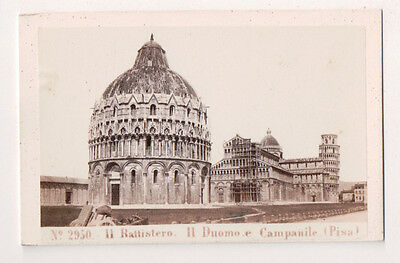 Vintage CDV The Pisa Baptistery of St. John Duomo & Leaning Tower Behles Photo