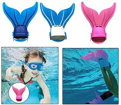 Kids Swimmable Monofin Mermaid tail Mono Fin Flippers Swimming Costume New BX