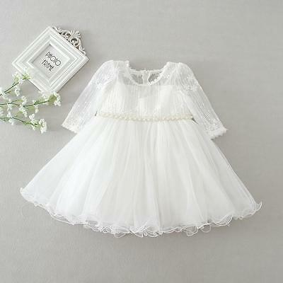 Tutu Lace Christening Dress for Girls Infant Baby Baptism Gown for Party