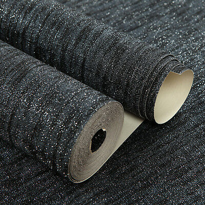 Glittering Modern Solid Black Textured Luxury 3D Wallpaper Rolls For Living Room