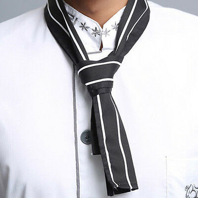 Black with White Stripe Fashion Print Neckerchief Chef Scarf Waiter Waitress