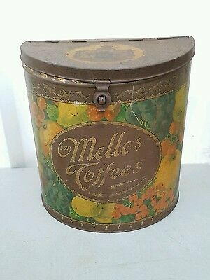 """Antique RARE c1890s Very Large """"VAN MELLE'S Toffees"""" hinged tin container"""