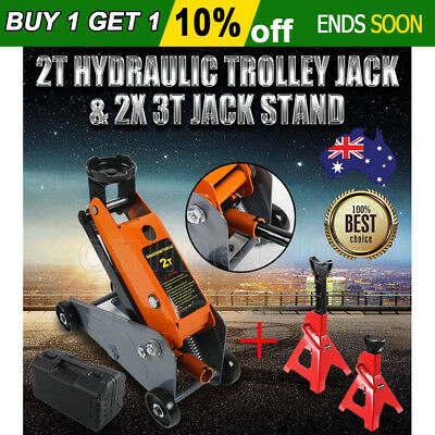 2 Ton Hydraulic Trolley Jack Low Profile SUV Carry Case + 2X 3T Car Jack Stand