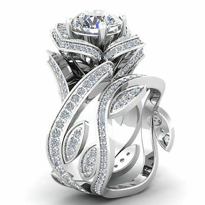 925 Silver Lotus Flower Natural White Topaz Ring Set Jewelry Women Wedding