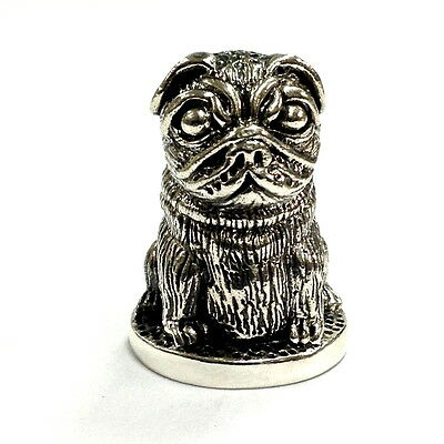 Collectable Victorian Style Pug Dog Thimble 925 Sterling Silver