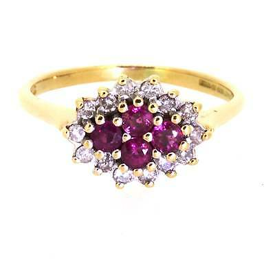 Ladies Hallmarked 18ct Yellow Gold Ruby And Diamond Ring Size P