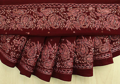 Vintage Indian Sari Border Trim Embroidered Sewing Plum Ribbon Antique Lace 1YD