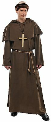 Mens Friar Tuck Monk Fancy Dress Costume + Wig Religious Medieveal Standard Size