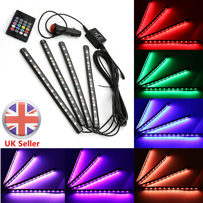 4x 12LED Car SUV Interior Atmosphere RGB Strip Light Music Control Footwell Lamp