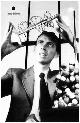 "JAMES WATSON * APPLE poster * THINK DIFFERENT * 17""/11"" * mint * STEVE JOBS"