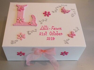 Beautiful Personalised Girls Large Memory Box Keepsake Christening Baby Birth