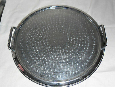 Vintage Stainless Steel Round Drinks Serving Tray : Ranleigh