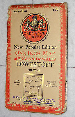 Ordnance Survey,New Popular Edition,Lowestoft,Sheet 137,1 inch to mile, 1946