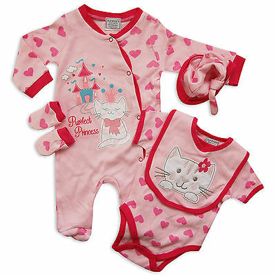 5PC Baby Girls Layette Outfit Set Perfect Princess Cat Hearts Design in Pink