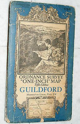 "Ordnance Survey,""One-Inch"" Map, Guildford, sheet 124, Fifth Edition,1934"