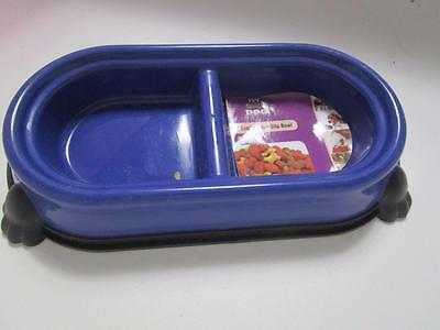 NAVY  DOG PUPPY CAT KITTEN double diner bowl food & water  350ml non slip dish