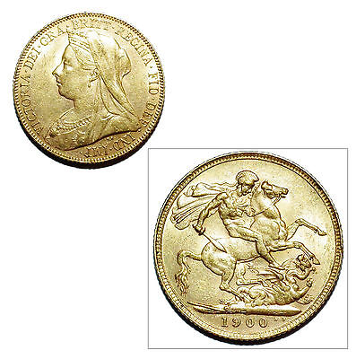 Pre-Owned 1900 Full Sovereign 22ct Gold Coin. Queen Victoria