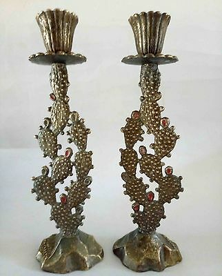Judaica Israel  VTG Beautifuly Sabbath Solid Brass Candlesticks Cactus Hen Holon