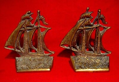 VINTAGE BRASS BOOKENDS NAUTICAL SAILING SHIP signed NANCY