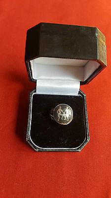 Vintage Lovely Sterling Silver Siam Ring Size ADJ 2.66 Grams No 2904 Boxed