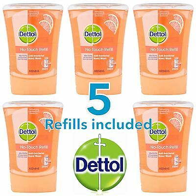 5 x DETTOL NO TOUCH HAND WASH REFILLS - REFRESHING GRAPEFRUIT ESSENCE FRAGRANCE