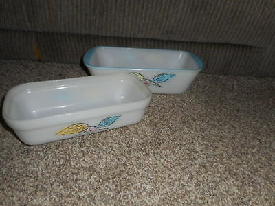 Vintage Fireking & Glasbake Loaf Pans (Leaves & Flower)