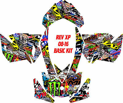 Ski Doo Snowmobile Wrap Kit Rev,xp, Xr,xs,xm 03-16 Sticker Bomb Decal