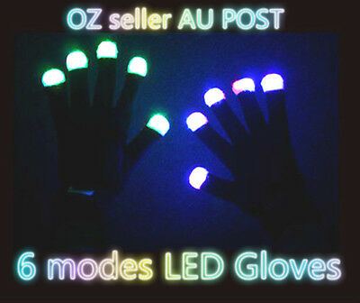 2x Rainbow Flow  LED Light Black Gloves Rave Party Glow Games Night fun 6 modes