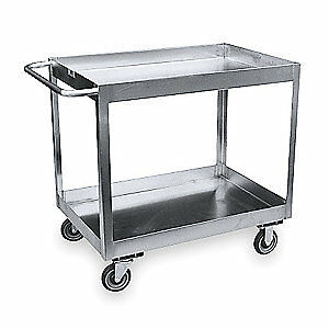 GRA Stainless Steel Utility Cart,SS,42 Lx25 W,1200 lb. Cap., XZ236-S5, Stainless