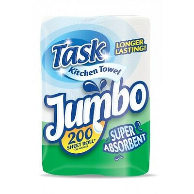 12X Task Jumbo Kitchen Towel Roll -2Ply White - 39.5M Roll 200 Sheets