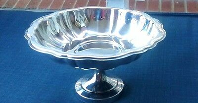 Vintage Oneida Silver Compote Candy / Nut Dish Scalloped Rim - Beautiful