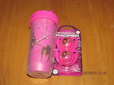 Baby Pacifier and Sippy cup set, Realtree Camouflage hot pink New, free shipping