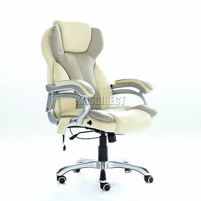 FoxHunter Luxury 6 Point Massage Office Computer Chair Reclining MC8074 Cream