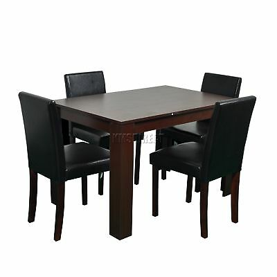 FoxHunter Wooden Dining Table and 4 PU Faux Leather Chairs Set Furniture Walnut