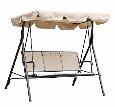 FoxHunter Beige Garden Metal Swing Hammock 3 Seater Chair Bench Outdoor FHSC08