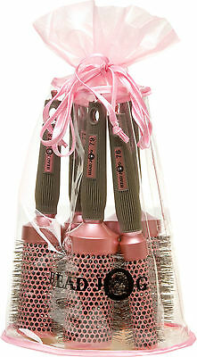 Head Jog Oval Pink Ionic Ceramic Hair Brush Set X 5 In Gift Bag