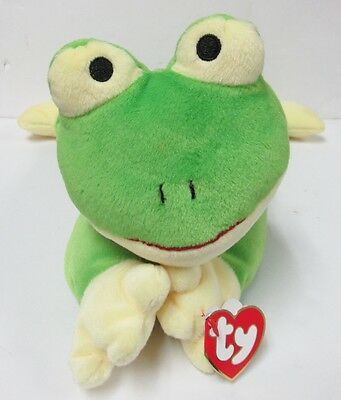 TY Pillow Pal Ribbit, the GREEN & YELLOW Frog PRISTINE CLEAN Brand New MINT Tags