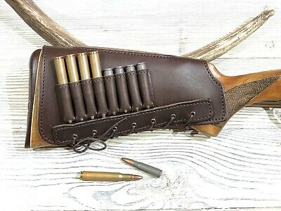 New Real Leather Rifle Ammo Cartridge Buttstock Holder Cover Cheek Rest Padded