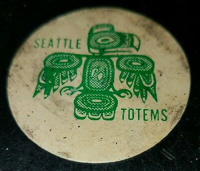 VINTAGE SEATTLE TOTEMS WHL HOCKEY PUCK scarce art ross TYLER converse USA  AGED