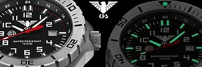KHS Tactical Watch Field Watch C1-Light Date Rubber Band Oliv German Army Watch