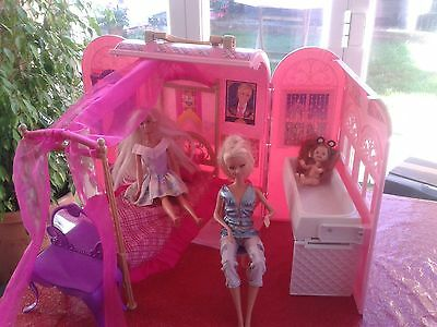 Barbie Princess Charm school playset carry case house & dolls Shelly/kelly