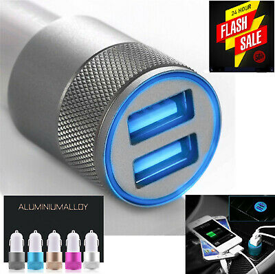 Car Charger 3.1A Double LED USB Alloy Universal Fast Charging iPhone Samsung New