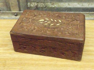 vintage old carved wooden box with inlay