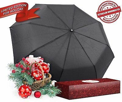 "Kolumbo Travel Umbrella - ""Non-breakable"" Windproof Tested 55MPH w/ Gift Box (Bl"