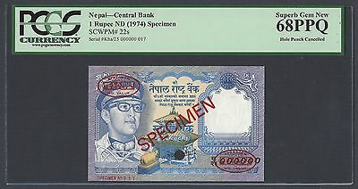 Nepal One Rupee 1974 p22s Signature 11 Specimen TDLR Graded 68
