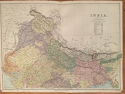 1882 North India By A & C Black Large Coloured Antique Map 134 Years Old