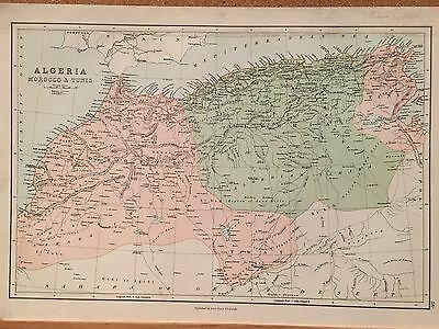 1882 Morocco Algeria Tunisia By A & C Black Coloured Antique Map 134 Years Old